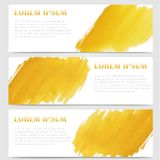 在黄色水彩设计例证的抽象倒栽跳水横幅 免版税库存图片