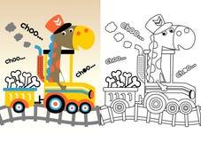 在黄色火车的迪诺动画片 皇族释放例证