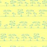 在黄色的无缝的传染媒介剪影花纹花样蓝色 免版税图库摄影
