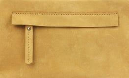 在黄色皮包的暗藏的拉链口袋 免版税库存照片