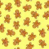 在黄色背景的圣诞节曲奇饼 无缝的模式 免版税库存照片