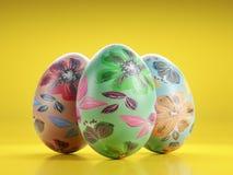 在黄色背景的复活节彩蛋 免版税库存图片