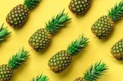 在黄色背景的新鲜的菠萝 顶视图 流行艺术设计,创造性的概念 复制空间 明亮的菠萝样式 免版税库存照片