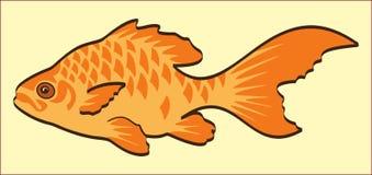 在黄色背景的金鱼 库存图片