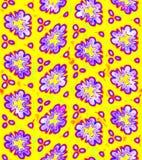 在黄色背景,紫罗兰色花纹理,无缝的例证的抽象紫色花卉样式 皇族释放例证
