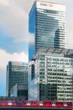 在黄雀色码头的HSBC顶头offcie 库存照片