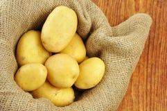 在黄麻大袋的未加工的马铃薯 免版税库存图片