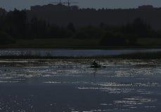 在黎明和一位渔夫的剪影一条小船的在距离 天空的反射在水中 背景, ple 图库摄影