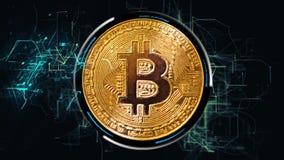 在黑宇宙背景的金黄bitcoin,计算机图表 皇族释放例证