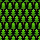 在黑无缝的样式,传染媒介的简单的绿色圣诞树 向量例证
