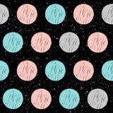 在黑无缝的背景的软的圈子 灰色,桃红色,蓝色circl 库存照片