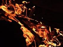 在黑暗的外部的木野营的火 免版税库存图片