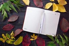 在黑暗的木背景的秋叶 与笔的日志页 免版税库存图片