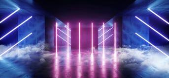 在黑暗的烟真正科学幻想小说萤光霓虹网络未来派现代减速火箭的外籍人舞蹈俱乐部发光的充满活力的紫色蓝色光 向量例证