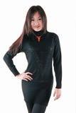 在黑暗的礼服的时装模特儿 免版税库存照片
