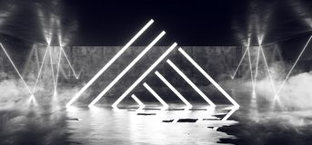 在黑暗的空的阶段展示的烟三角激光萤光减速火箭的科学幻想小说未来派霓虹发光的白色网络光亮光 皇族释放例证