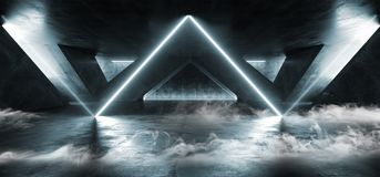 在黑暗的空的阶段展示的烟三角激光萤光减速火箭的科学幻想小说未来派霓虹发光的蓝色网络光亮光 向量例证