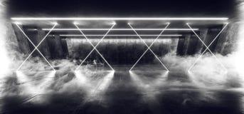 在黑暗的空的阶段展示的烟十字架激光萤光减速火箭的科学幻想小说未来派霓虹发光的白色网络光亮光 向量例证