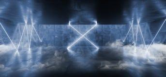 在黑暗的空的阶段展示的烟十字架激光萤光减速火箭的科学幻想小说未来派霓虹发光的蓝色网络光亮充满活力的光 向量例证