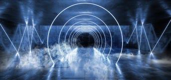 在黑暗的空的阶段展示的烟圈子激光萤光减速火箭的科学幻想小说未来派霓虹发光的蓝色网络光亮充满活力的光 库存例证