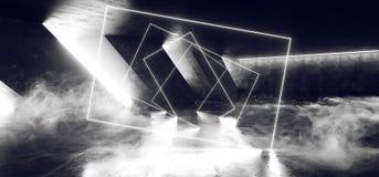 在黑暗的空的阶段展示的烟摘要激光萤光减速火箭的科学幻想小说未来派霓虹发光的白色网络光亮光 皇族释放例证