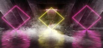 在黑暗的空的阶段展示的烟激光萤光减速火箭的科学幻想小说未来派霓虹发光的橙黄色网络光亮充满活力的光 皇族释放例证
