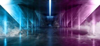 在黑暗的空的阶段展示的烟激光萤光减速火箭的科学幻想小说未来派霓虹发光的紫色蓝色网络光亮充满活力的光 向量例证