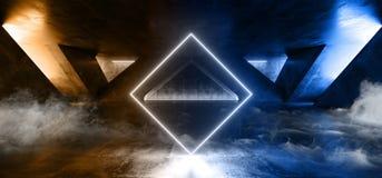 在黑暗的空的阶段展示的烟激光萤光减速火箭的科学幻想小说未来派霓虹发光的蓝色橙色网络光亮充满活力的光 皇族释放例证
