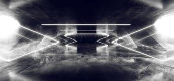 在黑暗的空的阶段展示的烟箭头激光萤光减速火箭的科学幻想小说未来派霓虹发光的白色网络光亮光 皇族释放例证
