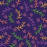 在黑暗的紫色背景的五颜六色的花卉无缝的样式 向量例证