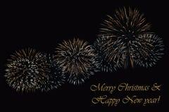 在黑暗的背景和文本`圣诞快乐&新年好`的烟花 库存照片