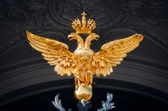 在黑暗的背景的两头金黄亮光老鹰 免版税库存照片