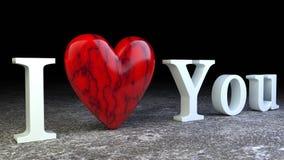 在黑暗的背景的情人节红色心脏 3d ilustration 库存照片