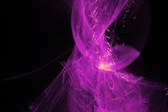 在黑暗的背景的抽象样式与紫色线弯曲微粒 图库摄影