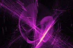 在黑暗的背景的抽象样式与紫色线弯曲微粒 库存照片