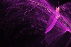 在黑暗的背景的抽象样式与紫色线弯曲微粒 库存图片