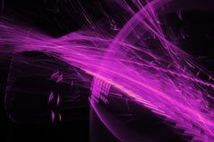在黑暗的背景的抽象样式与紫色线弯曲微粒 免版税库存照片