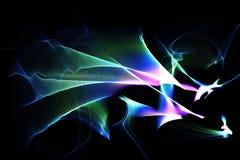 在黑暗的背景的抽象样式与青绿的紫色线曲线微粒 免版税库存图片