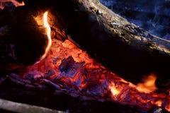 在黑暗的背景的火火焰 免版税库存照片