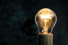 在黑暗的背景的电灯泡与里面火焰 免版税库存照片
