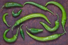 在黑暗的背景的绿色辣椒 免版税库存照片