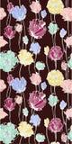 在黑暗的背景的色的花 无缝的模式 免版税图库摄影