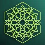 在黑暗的背景的色的阿拉伯装饰品 对称的模式 东部伊斯兰教的六角框架 装饰的清真寺元素 皇族释放例证