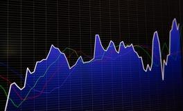 在黑暗的背景的财政股票市场图表和长条图价格显示 免版税图库摄影