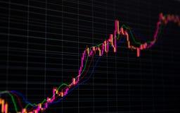 在黑暗的背景的财政股票市场图表和长条图价格显示 免版税库存图片