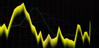 在黑暗的背景的财政股票市场图表和长条图价格显示 免版税库存照片