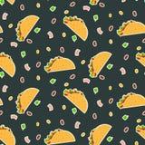 在黑暗的背景的逗人喜爱的动画片对比传染媒介炸玉米饼样式 向量例证