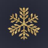 在黑暗的背景的金雪花 与闪烁纹理的圣诞节雪 Xmas传染媒介例证 免版税库存照片