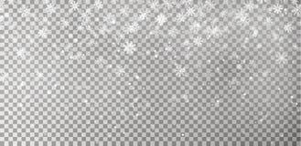 在黑暗的背景隔绝的圣诞节下跌的雪传染媒介 雪花透明装饰作用 皇族释放例证