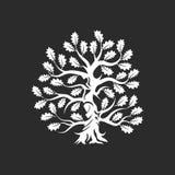 在黑暗的背景隔绝的巨大和神圣的橡树剪影商标徽章 库存例证